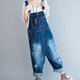 denim Bib Pants - Woman Pants, Long Pants, wide Pants, Women denim Bib Pants, casual Pants