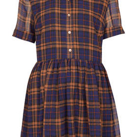 TOPSHOP - Check Shirt Drop Waist Dress