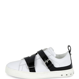 VALENTINO - Rockstud Strappy Leather Sneaker, White/Black