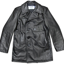 Schott - 140 LEATHER DOUBLE P-COAT BLACK