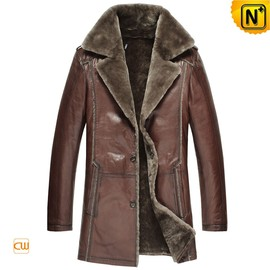 CWMALLS - Mens Sheepskin Lined Fur Leather Coat CW868825