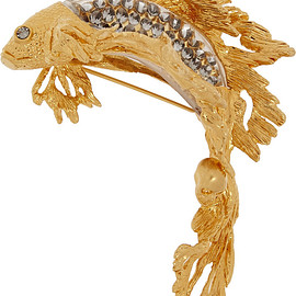 Alexander McQueen - Gold-plated, Swarovski crystal and glass brooch