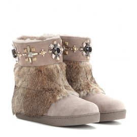 TORY BURCH - Curran embellished suede boots with fur