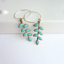 lunahoo - Blue turquoise enamel branch leaf dangle earrings with sterling silver hoops.