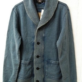 RRL - SHAWL COLLAR INDIGO CARDIGAN, WASHED (KNIT & SWEAT)