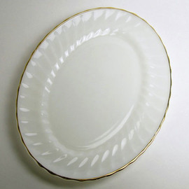 Fire King - White Shell Gold Rim Oval Platter