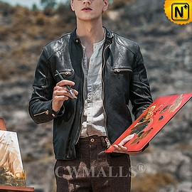 CWMALLS - New York Custom Black Leather Motorcycle Jacket CW818009 | CWMALLS.COM