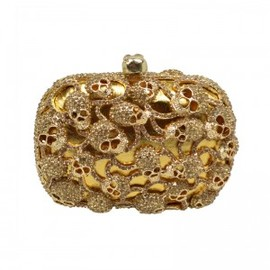 hallomall - Golden Tone Skull Heads Embellishment Clutch