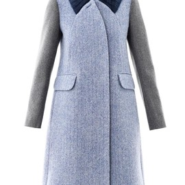 CARVEN - Contrast sleeve wool coat