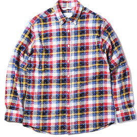 thisisneverthat - 【thisisneverthat】CHECK & DOT BUTTON DOWN SHIRT(RED-YELLOW)