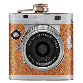 suzidressroom - Liquor Hip Flask - Stainless Steel Orange Camera Vintage