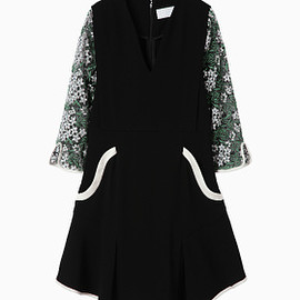 mame - 16SS Tulle Embroidered Sleeve Dress - black
