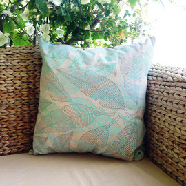 "JANA LAM - JANA LAM Pillowcase 18""x18"", One of a kind, hand-printed and hand-sewn"