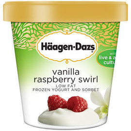 Haagen-Dazs - Haagen-Dazs Vanilla Raspberry Swirl Low Fat Frozen Yogurt and Sorbet, 14 fl oz