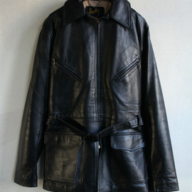 Husky Leather Outdoor Wear - 60's Husky nappa leather belted sport jacket