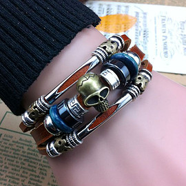 Hand Made Skull Charms Buckle Leather Bracelets