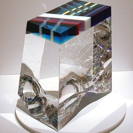David Hutchhausen - Luna Blue, Fractured, laminated, polished glass, vitrolite