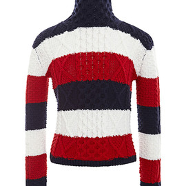 THOM BROWNE - Aran Cable Turtle Neck In Rugby Stripe Merino Wool