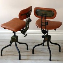 Pair of 1950's Industrial Leather Chairs by OrmstonSaintUK on Etsy