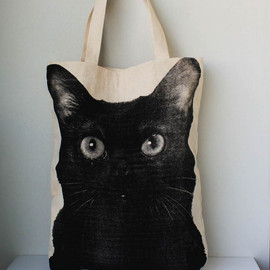 Tshirt99 - Black cat  big size Canvas tote bag/Diaper bag/Shopping bag/ Document bag /Market Bag.