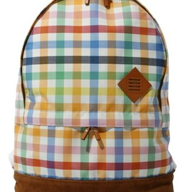 THOM BROWNE - BACKPACK IN COLORFUL GINGHAM CHECK BONDED WOOL/BROWN SUEDE(バックパック/リュック)|その他