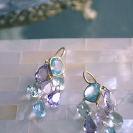 Marie-Hélène de Taillac - aquamarine,morganite...pastel-stones,dreamy Rita Hayworth earrings.