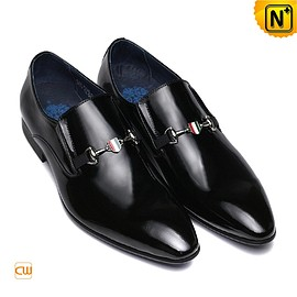 cwmalls - Luxembourg Mens Black Dress Loafers Slip-on Shoes CW762022