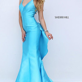 2016 prom dresses - 2016 Teal Plunging V Neckline Cutout Sherri Hill 50195 Ruffled Long Satin Mermaid Gown