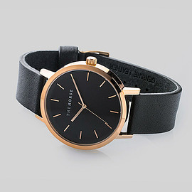 the horse - Rose Gold / Black Face / Black Leather