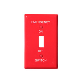 RACO - Wallplate red smooth emergency