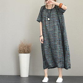 vintage Silk linen dress - vintage loose Silk linen dress, printed short sleeved women dresses, Long dress for women