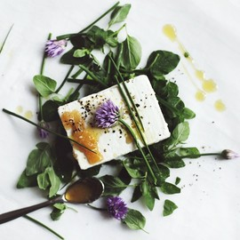 Goat's milk feta with herbs, honey + olive oil /