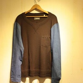 TAKAHIROMIYASHITA The SoloIst. - rough neck l/s tee. -chocolate brown.-
