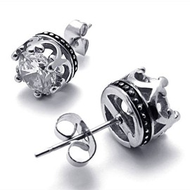 alanatt - Titanium Steel Transparent CZ Crown Shape Stud For Single One