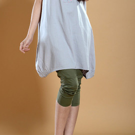 shirt - leisure Linen Long lantern Shirt dress