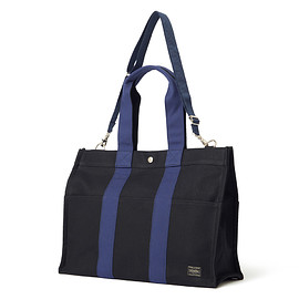 "HEAD PORTER - ""POLLOCK"" 2WAY TOTE BAG (M) BLACK/NAVY"