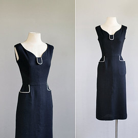 reserved .. 50s dress / 1950s black wiggle dress / Pipe Dreams dress