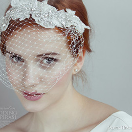 olivia headpieces - olivia 2014 bridal accessories beverly vintage inspired birdcage veil net