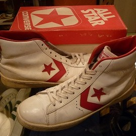 "converse - 「<used>70-80's converse ALLSTAR BASKETBALL MEN'S PRO HI white/red""made in USA"" W/BOX size:US9/h 26800yen」完売"