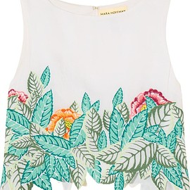 Mara Hoffman - Cropped embroidered voile top