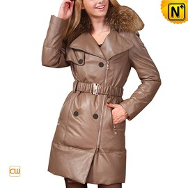 CWMALLS - Women Long Leather Down Coat CW685038 - CWMALLS.COM
