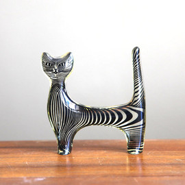 Vintage Mod Black Striped Cat Figurine