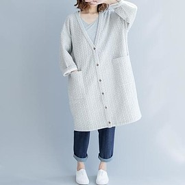 women jacket - Light grey coat, cotton jacket, Loose Fitting long coat, Oversized women jacket