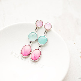 Polina & Sergey - Peony dangle earrings - Mint and Pink - Flower jewelry - Bloom Collection by BeautySpot (E132)