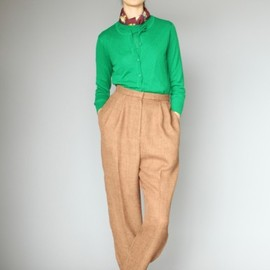 KAREN WALKER - Dropstitch Cashmere Cardigan in Green