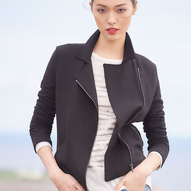 Majestic Paris for Neiman Marcus - Majestic Paris for Neiman Marcus French Terry Zip-Front Moto Jacket