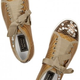 Lanvin - Gold Crystal leather sneakers