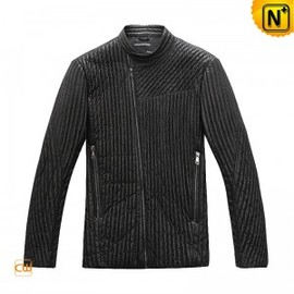 CWMALLS - Mens Striped Leather Jacket CW880017 - M.CWMALLS.COM