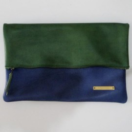 yucchino - BICOLOR CLUTCH green X blue