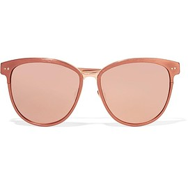 Linda Farrow - Cat-eye brushed copper-tone mirrored sunglasses